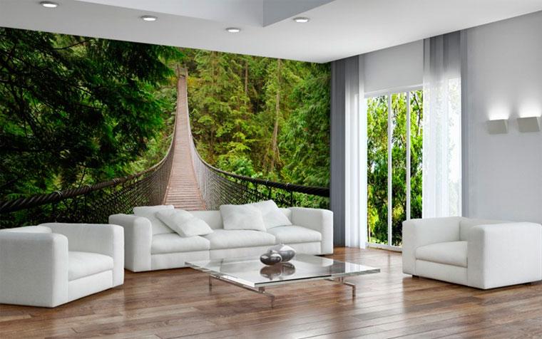 Фотообои с природным пейзажем станут отличной альтернативой дорогостоящему вертикальному озеленению