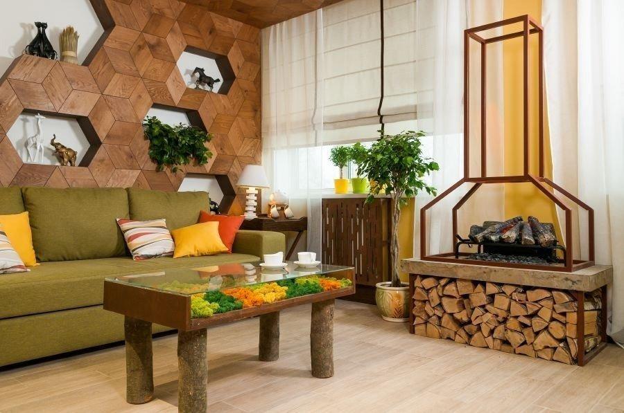 Для декора в эко-стиле лучше всего использовать элементы натурального дерева и живые цветы