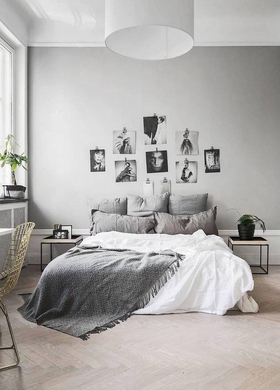 Фото кровати с изголовьем у стены