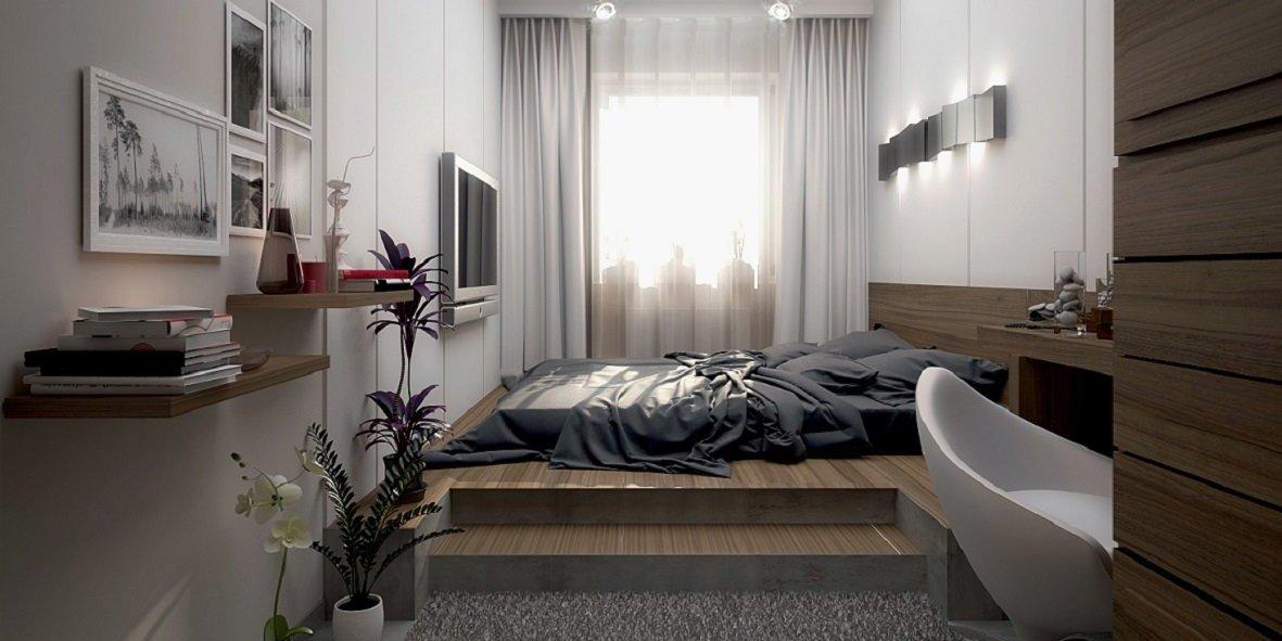 Обратите внимание на эту фотографию – идеальный вариант оформить спальню на 10 квадратных метрах. Вариантов изготовления кроватей-подиумов много. Даже в ограниченном пространстве может выглядеть шикарно!