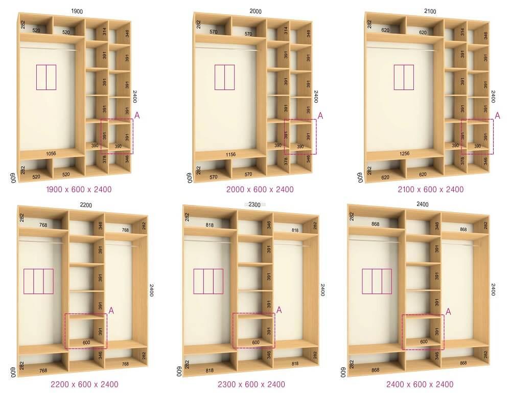 Определение размеров шкафов-купе