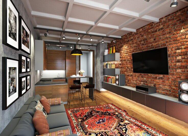 Темная кирпичная стена и обилие искусственного и естественного освещения составляют идеальный дизайнерский симбиоз