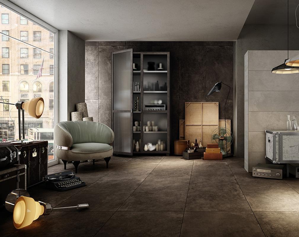 Кожаное покрытие на полу и одной из стен полностью преобразуют все помещение.