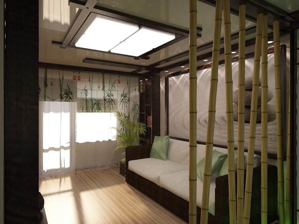 Ламинат для японского стиля часто имитирует структуру бамбука