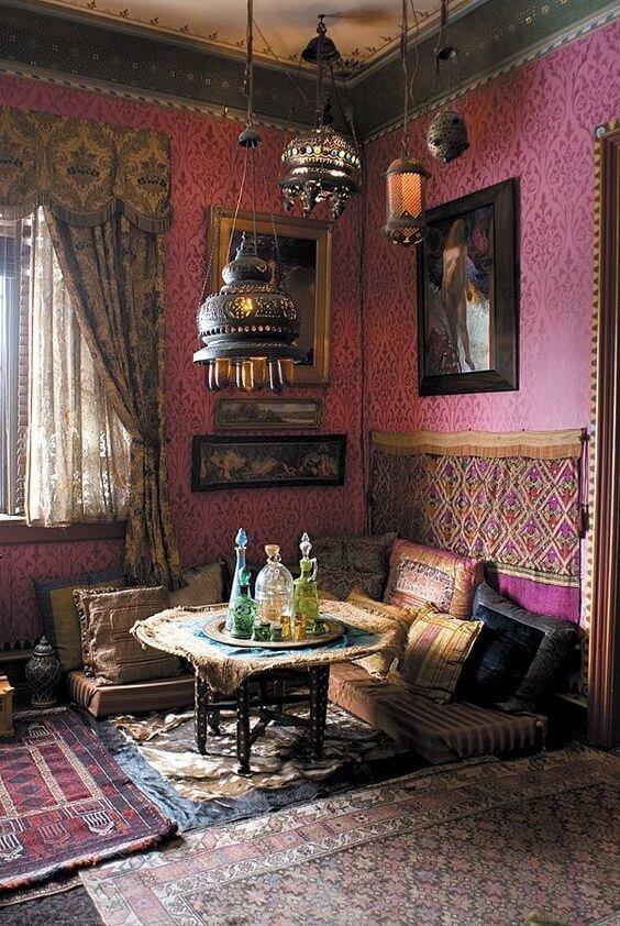 Марокканский стиль –– это цвета таинственной пустыни: оранжевый, зеленый, синий, черничный и алый