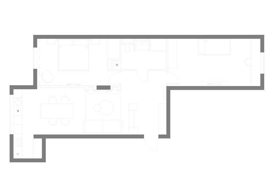 """Перепланировка квартиры: кухня """"ушла"""" влево, удачно спрятав рабочую зону."""