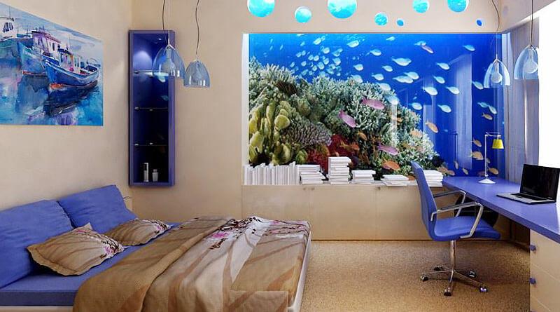 Качественные фотообои с неоновой подсветкой станут отличной альтернативой дорогому аквариуму с рыбками