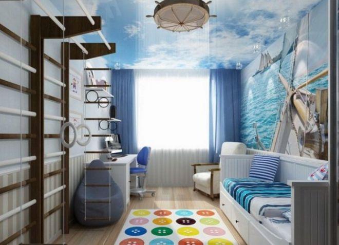 Для подвижных деток игровой комплекс в спальне станет веселым местом проведения досуга