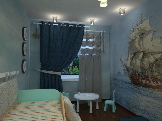 Оригинально вписать шторы в интерьер можно с помощью стилистического их оформления в духе корабельных парусов