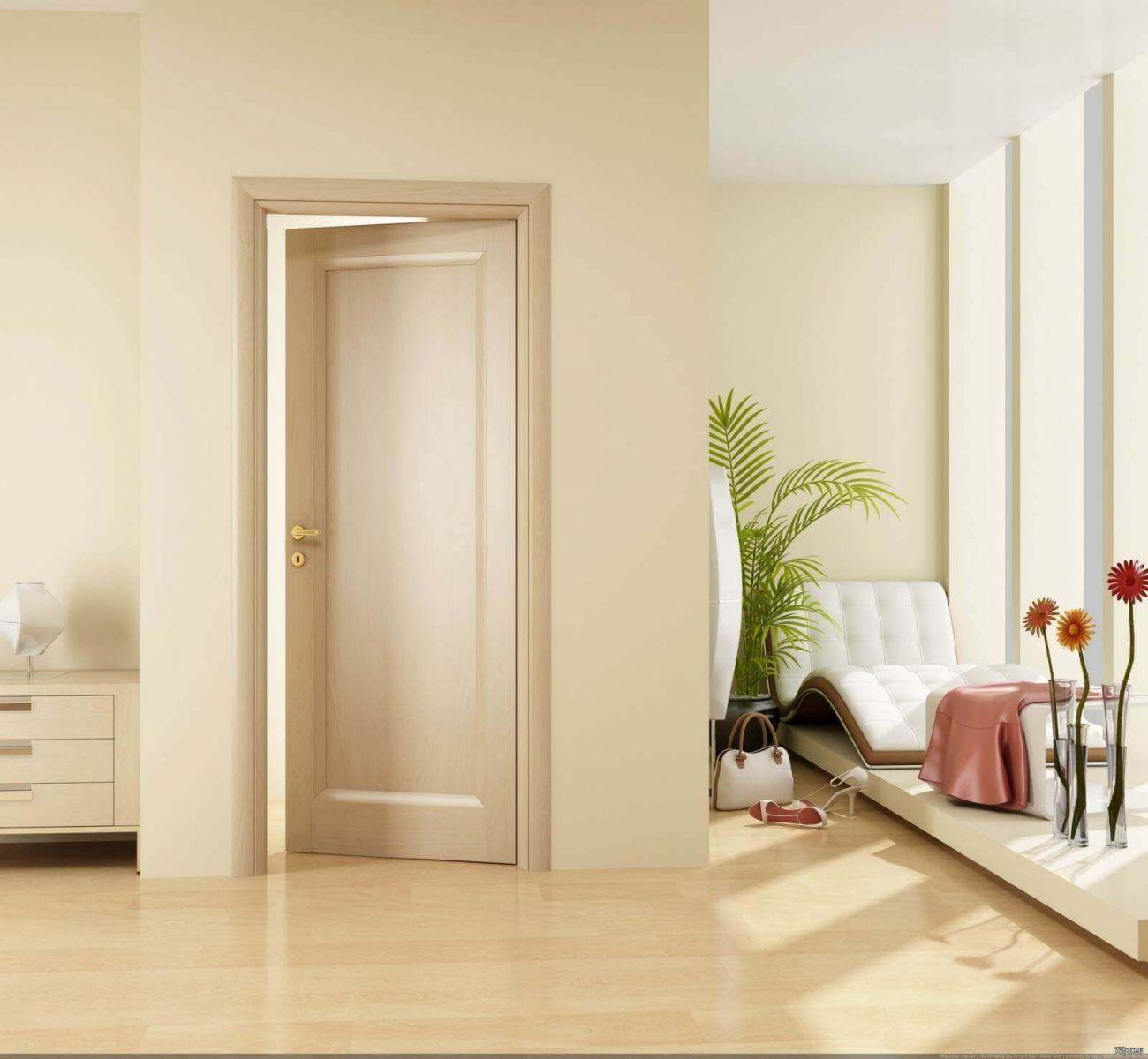 Двери подобраны в сочетании с общей цветовой гаммой комнаты.