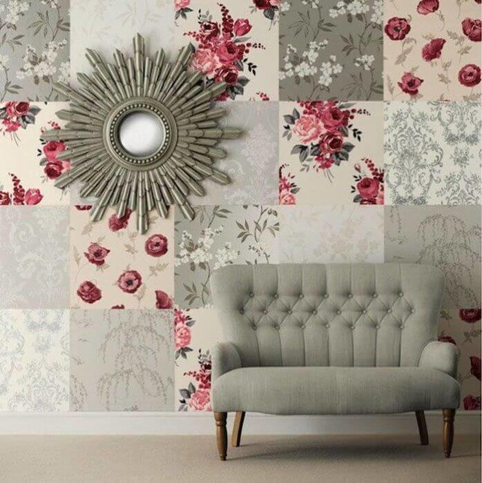 Пэчворк из разных обоев украсит вашу стену