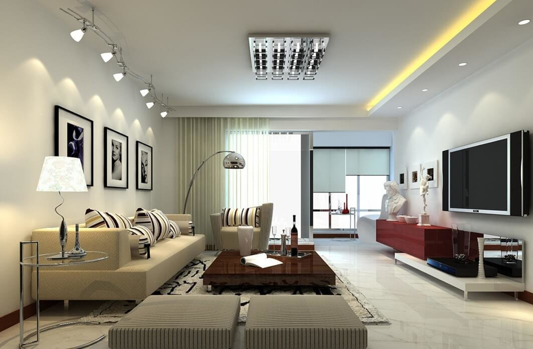 Общий потолочный свет, специальный свет и акцентированный на декоративных полках создают удачную композицию.