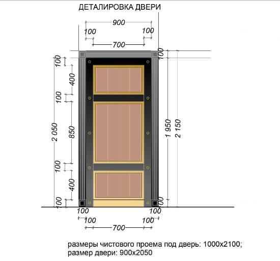 Деталировка для выбора дверного блока по определенный размер проема