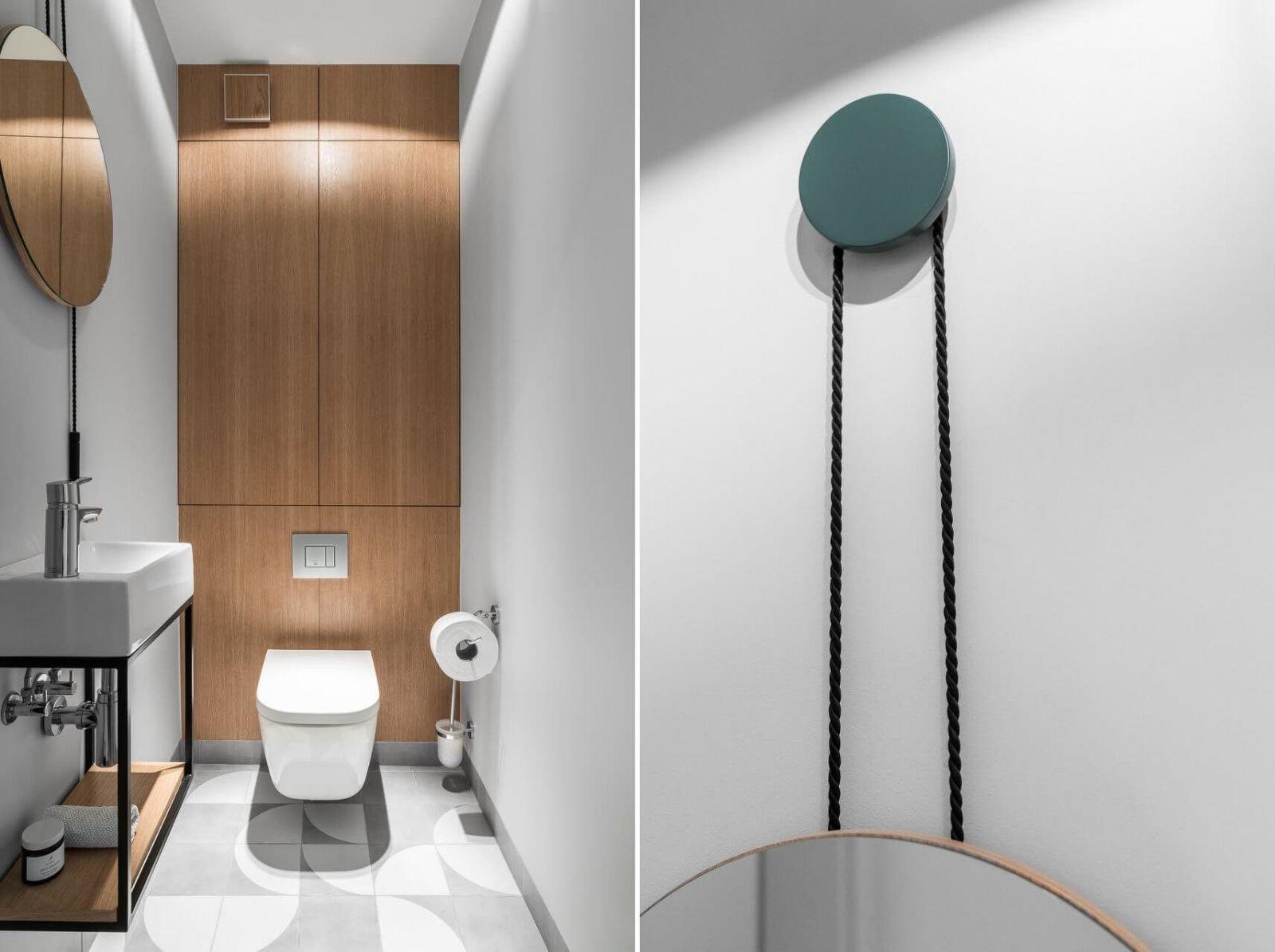 Контрастностные сочетания и геометрических мотивы доминируют в эстетике дизайна санузла.