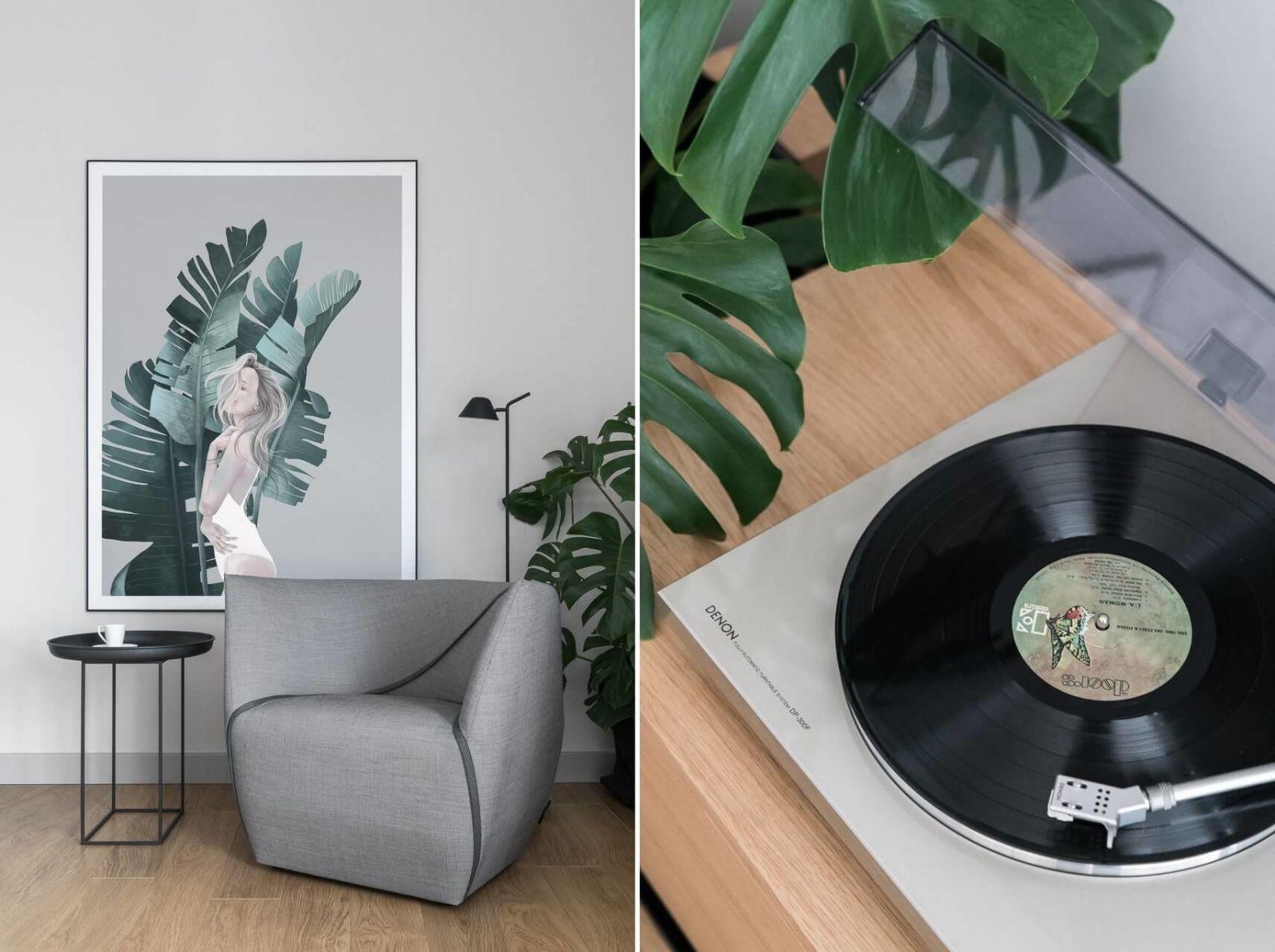 В квартире разместили минимум мебели и декоративных деталей, каждая из которых имеет функциональную нагрузку.