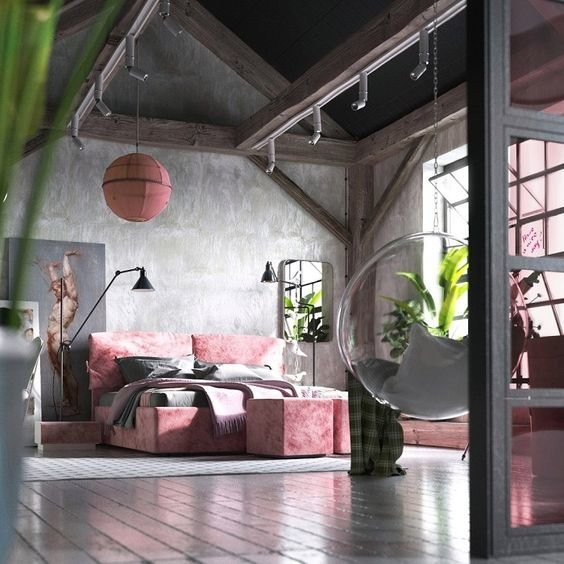 Розовый цвет будет отличным решением для гармонизации холодной натуры лофта.
