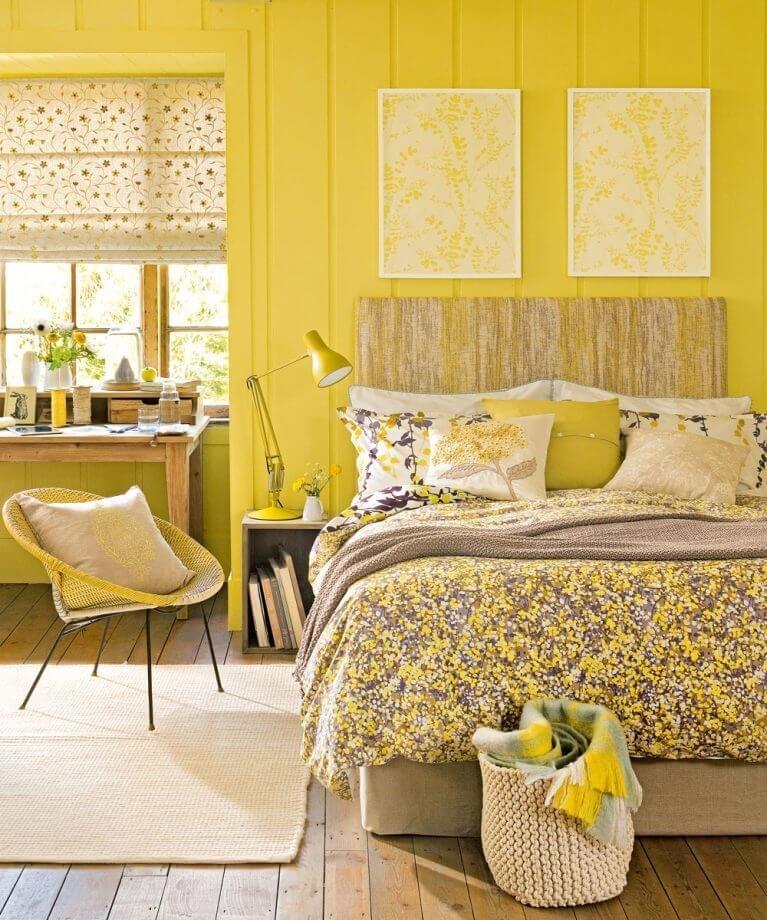 Желтый монохромный интерьер - решение для смелых и дерзких.