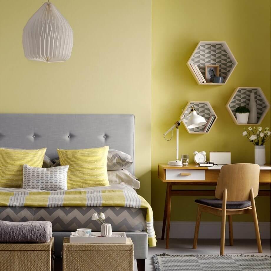 Дуэт серого и желтого - это контрастное чудо дизайна.