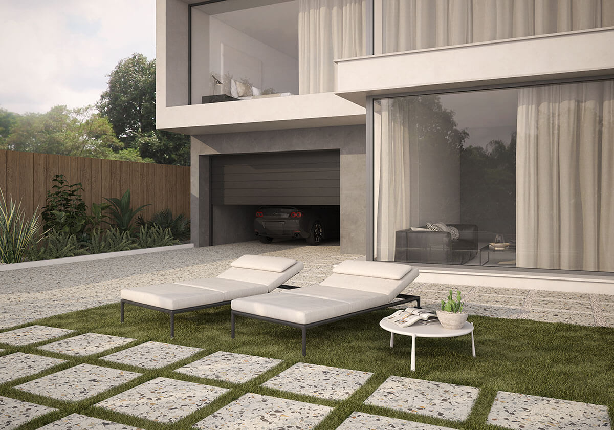 Терраццо отлично подходит не только как напольное покрытие в доме, но и в саду.