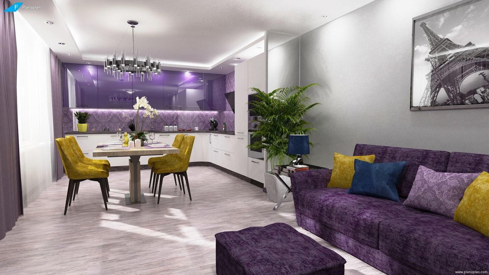 Колоритные сочетания Ultra Violet с яркими оттенками желтого, бирюзового и марсалового создают насыщенный цветовой дизайн.