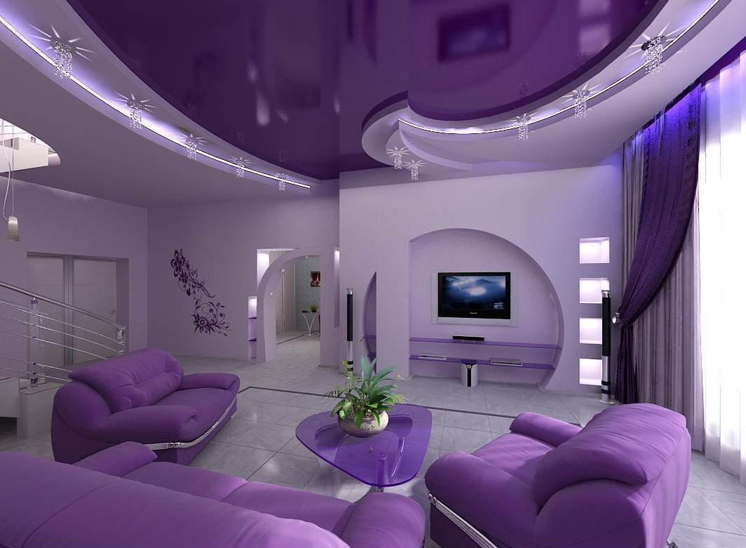Идеальным стилем для реализации цветовой эстетики Ultra Violet является хай-тек: стильный, модерный и без тривиальных клише.